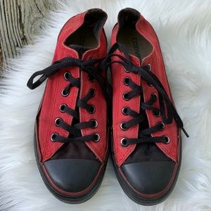 Converse Rare Vintage Red Black Low Top Sneakers